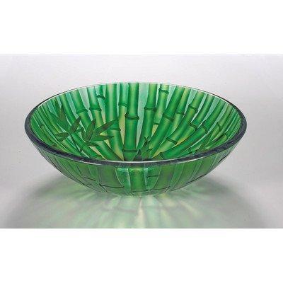 Bath Sink Vessel Bamboo (16.5 in. Glass Vessel Sink in Green)