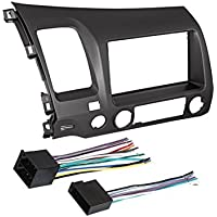 06-11 CIVIC GRAY SINGLE OR DOUBLE 2 DIN CAR STEREO INSTALLATION DASH TRIM KIT W/ HARNESS