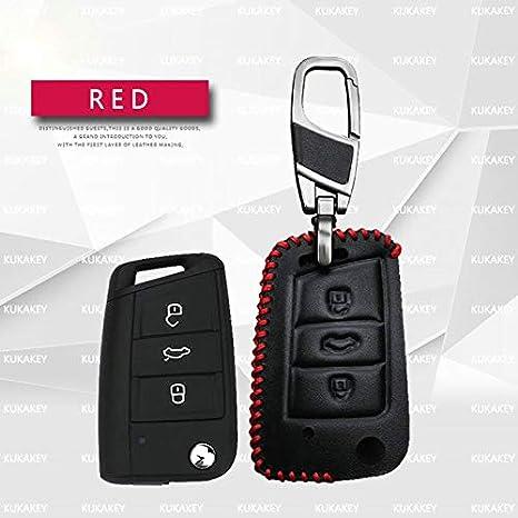ShineBear - Funda para llave de coche de piel auténtica con ...
