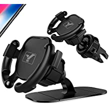 [2 Pack] YICTONE Car Phone Holder for Popsocket Grip User,Air Vent & Dashboard Sticker Dual Modes Cell Phone Mount in one Pack, Upgraded Air Vent Never Fall Off - Easier GPS Navigation