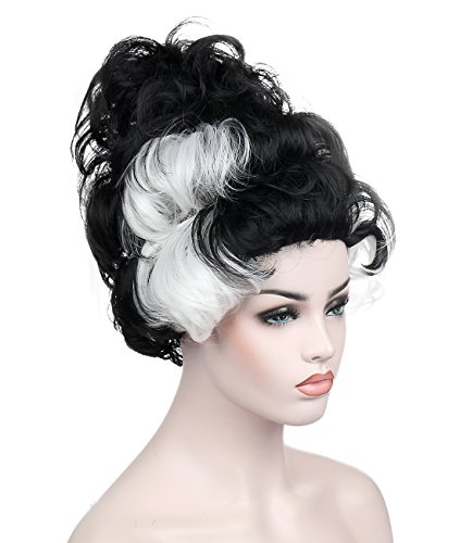 Kalyss Black and White Beehive Wig Women's Heat Resistant Synthetic Hair Cosplay Costume Curly Wavy Wigs -