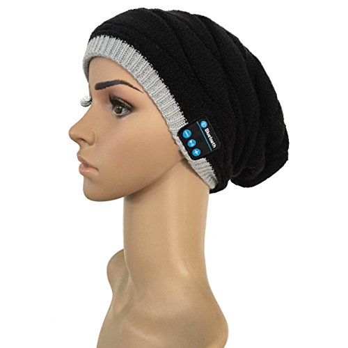 Audio Snowboard Hard Hat (Rasse Bluetooth Headphone Beanie Wireless Winter Hat with Headset Stereo Hands Free Talking for Outdoor Sports Walking Running)