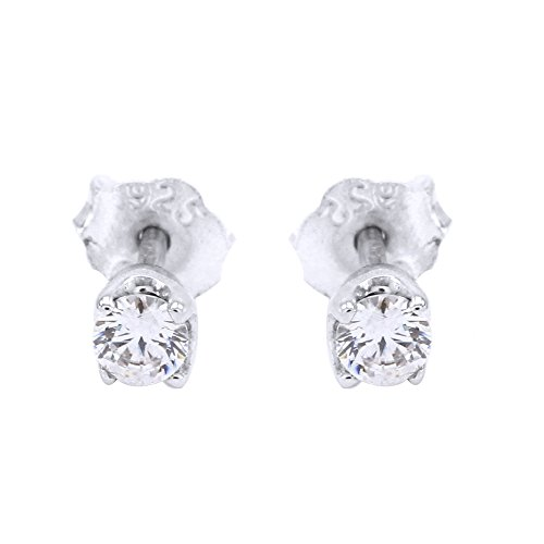 Round Cut White Natural Diamond Accent Stud Earrings in 14k White Gold Over Sterling Silver (0.06 Cttw)