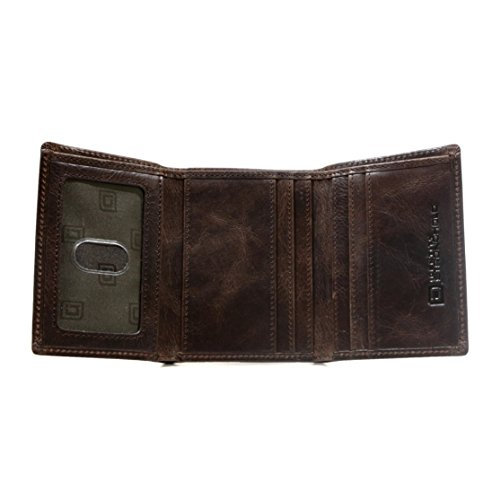 Leather Wallet Buffalo - ID Stronghold Thin RFID Blocking Trifold Wallet for Men Genuine Buffalo Leather