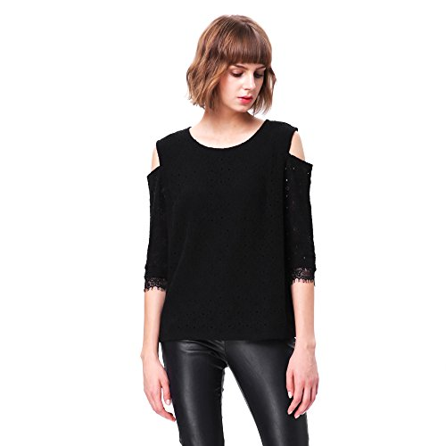 Women Elegant Hollow Out T Shirt Cold Shoulder Loose White Lace Crochet Blouse Tops (38, black)