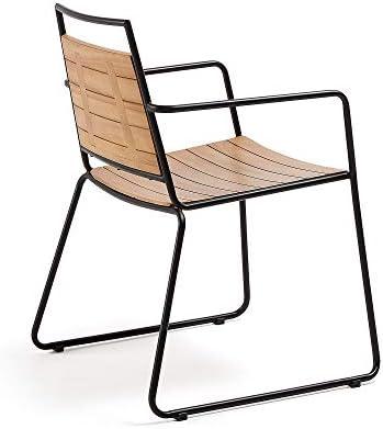 Kave Home - Chaise de Salle à Manger Komfot avec accoudoirs en Bois Massif de Teck pour Usage intérieur et extérieur