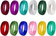 BTSEURY Silicone Ring for Women, 12pcs/10pcs Outdoor Sports Ring 12 Colors Ring,5.7mm Fashion Rings Wide Rubbe