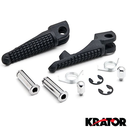Krator Black Front Foot Rest Pegs for Kawasaki Ninja ZX-6R ZX-10R ZX-9R 650R Z1000 Z750 Black Motorcycle Foot Pegs Footrests Left & Right