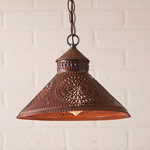 (Stockbridge Shade Light with Chisel in Rustic Tin)