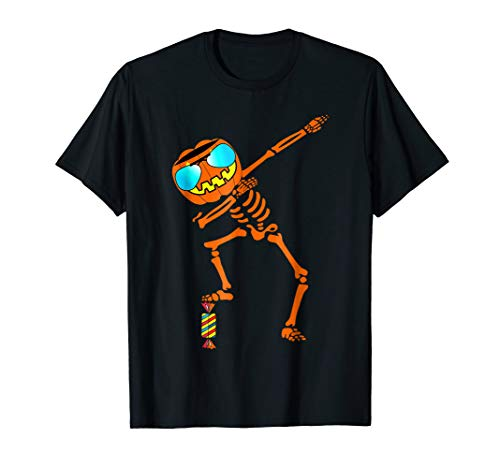 Dabbing Skeleton T-Shirt Halloween Kids Pumpkin Head Face
