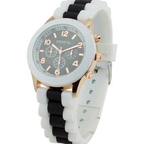 Women's Geneva Silicone Band Jelly Gel Quartz Wrist Watch Black