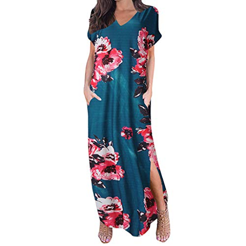 aihihe Boho Maxi Dresses for Women Summer Plus Size V Neck Short Sleeve Floral Print Beach Dress with Pocket (001 Pink,M) -