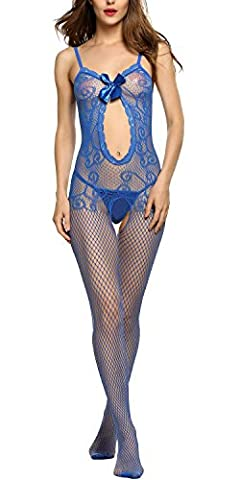 Avidlove Women Sexy Lingerie Spaghetti Sheer Open Crotch Front Bowknot Bodystocking£¨one (Stocking Lingerie Set)
