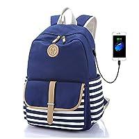 Bolsa de ordenador portátil de lona FLYMEI Mochila escolar linda Mochila universitaria Mochila de hombro Bolsas de viaje informal para niñas adolescentes y mujeres