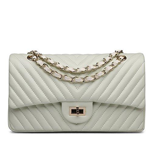 Ainifeel Purse Beige Hobo Handbags Women's Genuine Shoulder Quilted Leather Bag FwAqFZ