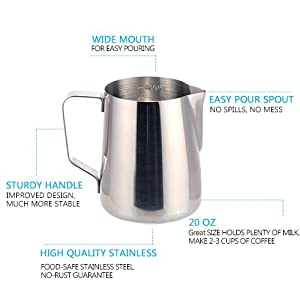 Milk Frothing Pitcher - Stainless Steel Frothing Pitcher 20 OZ Frothing Cup with Measurements on Both Sides for Espresso Cappuccino Coffee Latte Art Pitchers Milk Frothers by VivReal Dining