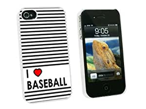 Graphics and More I Love Heart Baseball Snap-On Hard Protective Case for Apple iPhone 4/4S - Non-Retail Packaging - White