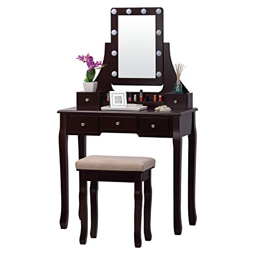 Fineboard FB-VT32-BN LED Lights Vanity Table Set with Stool and Mirror with 5 Drawers, Brown