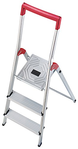 Hailo 8150-307 L50 safety ladder, 3 steps, safety rail with integrated bucket hook,  hinge protection, made in Germany 8150307