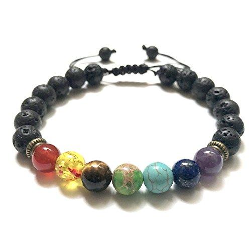 7 Chakra Healing Lava Stone African Beads Howlite Bracelet Handmade Braided Rope Wrist Bohemian Vintage Bangle Adjustable ()
