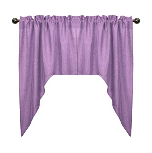 Aiking Home Rod Pocket Faux Linen Textured Semi-Sheer Swag Kitchen Curtains/Valances for Small Window (Set of 2, 28
