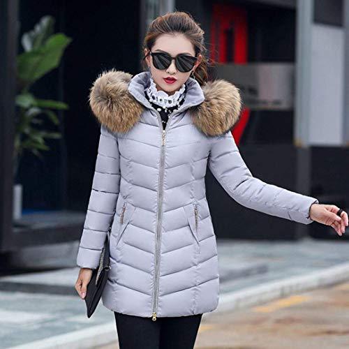 Vestibilit�� In T Cappuccio Da Leggera Giacca Outdoor Aderente Grigio Con Trapuntata Parka Calda Targogo E shirt Invernale Donna Pelliccia Lunga xqYYwX7r