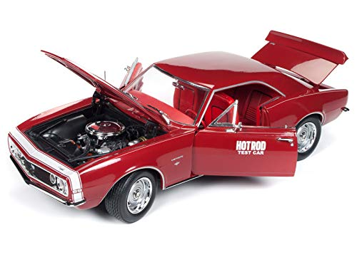 1967 Chevrolet Camaro SS Hot Rod Test Car Red with White Nose Stripe Hot Rod Magazine Limited Edition to 1,002 Pieces Worldwide 1/18 Diecast Model Car by Autoworld AMM1163