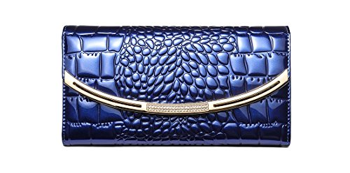 (Eastylish Women's Luxury Genuine Cow Patent Leather Clutch High Capacity Wallets Card Holder Organizer Ladies' Purse Blue)