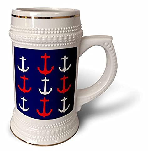 Florene Nautical Décor - Image of Red And White Anchors In Rows On Navy Blue - 22oz Stein Mug - Navy Stein