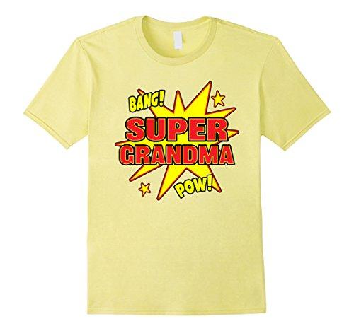 Mens Super Grandma T-Shirt Super Power Grandmother Gift Small Lemon - Super Grandma Costume