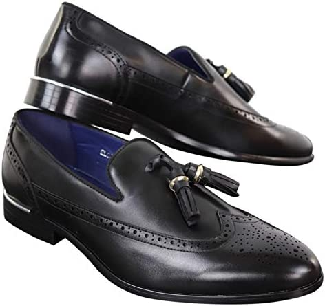 Mens Tassel Brogue Shoes Driving Loafers Slip On Classic Smart Casual Gatsby