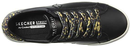 Goldie Moustache Skechers73823 Léopard Side Femme Wild à Cuir Noir Baskets Lacets en gwIIqdxS