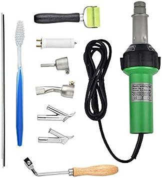 S SMAUTOP 1600W Soldadora de plástico de mano, pistola de calor de soldadura de vinilo, herramientas para pisos Kit de soldadura de pisos con boquillas de velocidad Rodillo Pe PVC Plástico