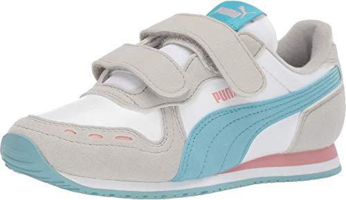 PUMA Unisex Cabana Racer Velcro Sneaker, White-Milky Blue-Gray Violet-Bridal Rose, 12.5 M US Little Kid