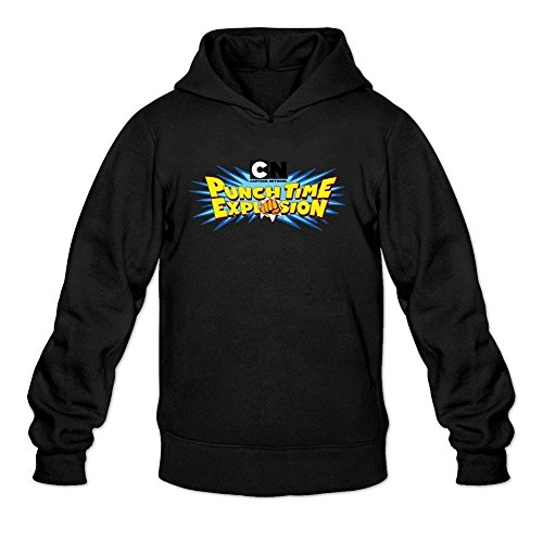 XIULUAN Men's Cartoon Network Punch Time Explosion Game Hooded Sweatshirt L Black