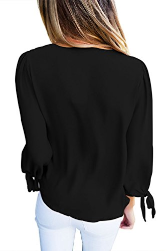 YOUJIA Mujeres Elegant Camisetas Tops Color sólido Tie Up Blusa Tops manga 3/4 Wear to Work T Shirt Negro
