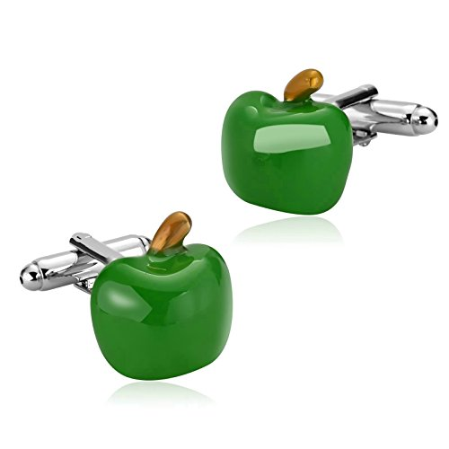 Aooaz Mens Stainless Steel Cufflinks Gold Green Polish Apple Shirt Business Wedding 1.5X1.6Cm [Gift Box]