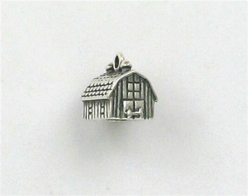 Sterling Silver 3-D Barn Charm - Jewelry Accessories Key Chain Bracelet Necklace Pendants