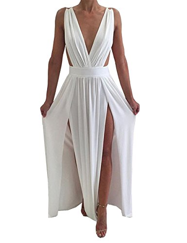 Maketina Womens Sexy Deep V Neck Backless High Slit Flowy Long Evening Dress White S Long Evening Gown Dress
