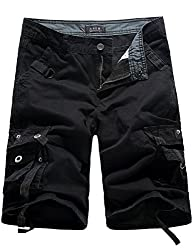 SSLR Men's Cotton Flat Front Army Cargo Shorts (29, Black)