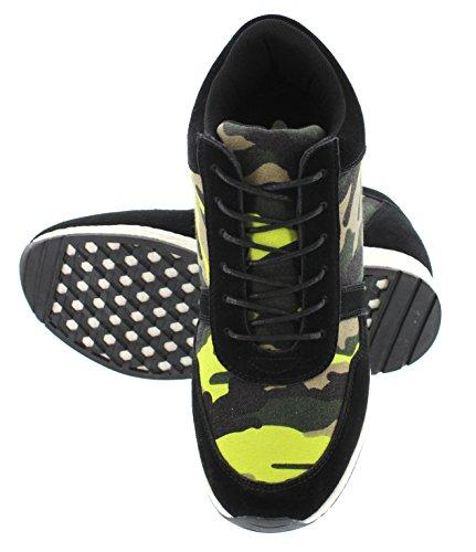 Calto H2244-3.2 Pouces De Hauteur - Hauteur Augmentant Les Chaussures Dascenseur - Camo Noir / Chaussures De Mode Jaune