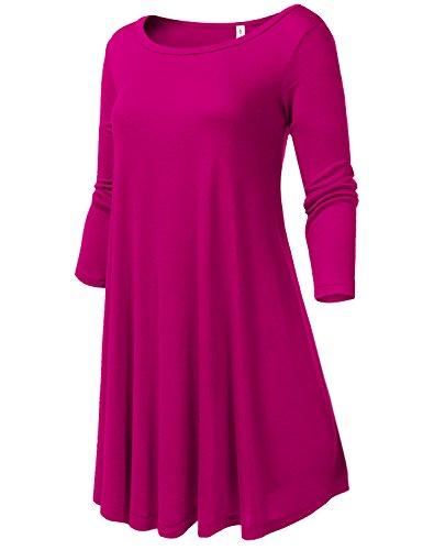 Round Neck Flowy Stretch Knit 3/4 Sleeve Short Dresses