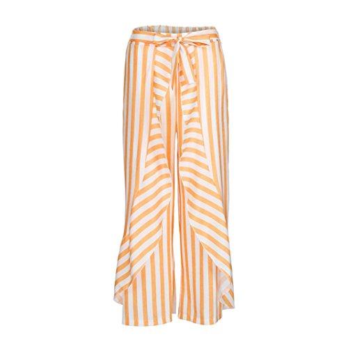 2018 Palazzo Pants,Women Stripe Ruffle Bottom Sash High Waist Wide Leg Beach Trousers by-NEWONSUN by NEWONESUN-Pant (Image #2)