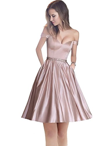 Waistband Short Prom Beading Blush Dress Homecoming Dress Sweetheart Jazylynbride Shoulder Satin with The Off ZIx1wY7