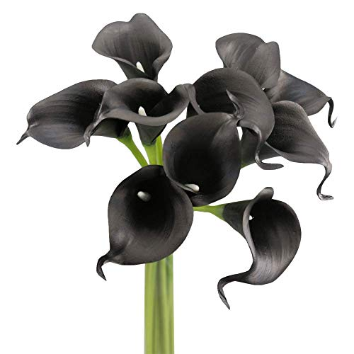 Angel Isabella 10pc Set Real Touch Calla Lily-Keepsake Artificial Flower Perfect for Cut to Make Boutonniere Corsage Bouquets (Black)