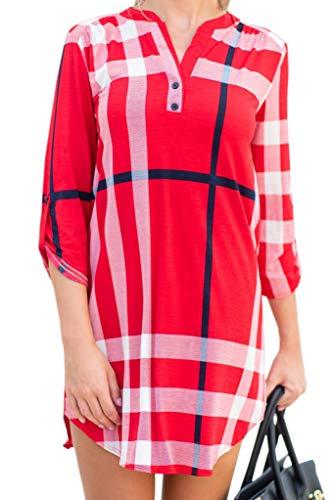 Chuanqi Womens 3/4 Roll Sleeve Plaid Tunic Dresses V Neck Button Henley T Shirt Midi Dress - Mini T-shirt Henley