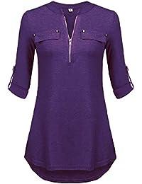 Amazon Com Purples Women S Blouses Button Down Shirts