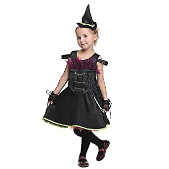 Punk Black Kids Fancy Dress Up Clothes Costume Cosplay Halloween Birthday Party ( Color : Black , Size : L(115-125CM) )