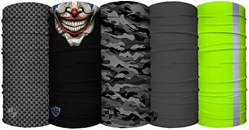 Face Shield S A UV Face Shield for Men and Face Shield for Women USA 5 Pack of Multipurpose Face Shields Neck Gaiter Headband Worn 12+ Ways as Head Wrap Balaclava Life Time Warranty Bandana