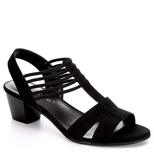 (Pesaro Womens Leanne Dress Sandal Shoes, Black, US)